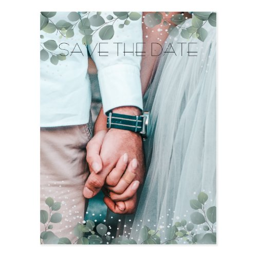 Green Eucalyptus Modern Photo Save the Date Postcard