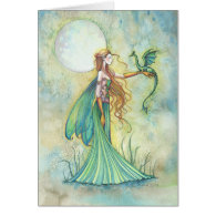 Green Fairy and Dragon Fantasy Art Cards