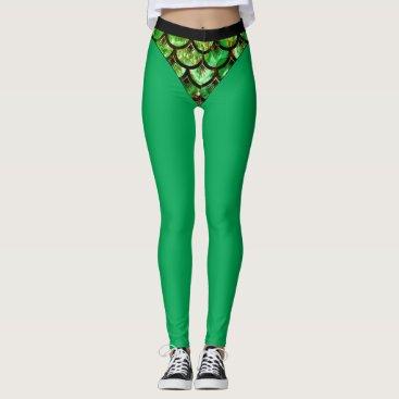 Green Fish Scale Bikini Leggings