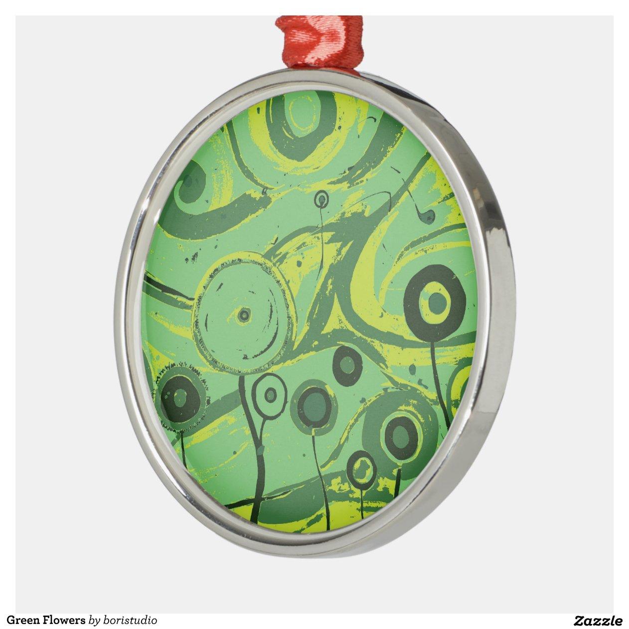 Green Flowers Metal Christmas Ornament Zazzle