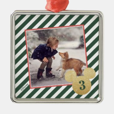 Green Glitter Mickey Icon with Photo Metal Ornament
