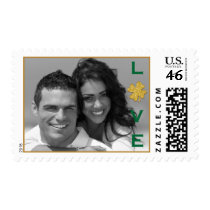 Green Gold Shamrock Love Photo Postage