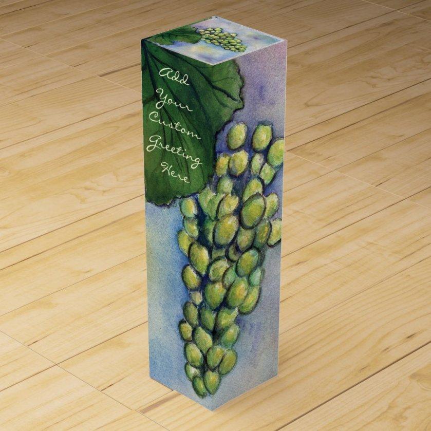 Green Grapes White Wine Custom Bottle Art Gift Box