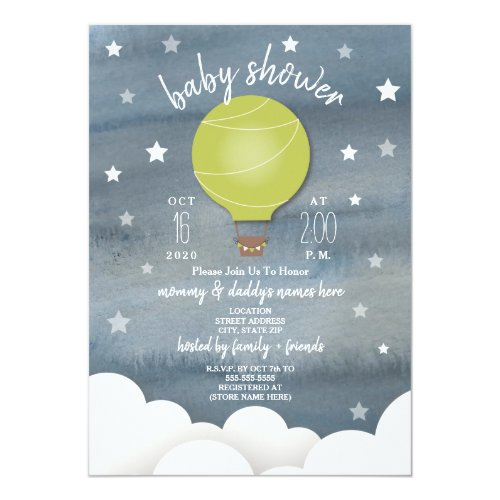 Green Hot Air Balloon + Stars Neutral Baby Shower Card