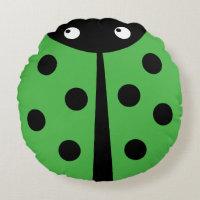 Green Ladybug Round Throw Pillow