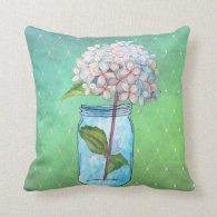 Green Latticed Hydrangea in Blue Jar Throw Pillow