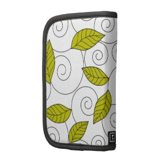 Green leaves and spiral pattern planner