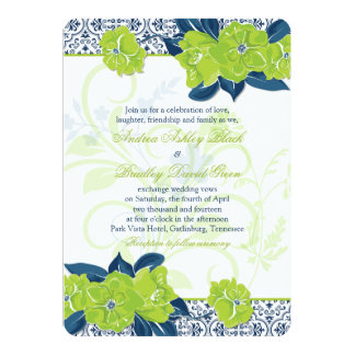 Navy Blue And Green Wedding Invitations