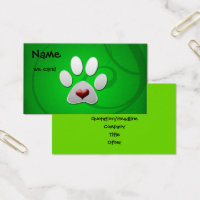 Green Paw Heart Pet Business Cards