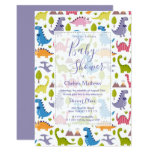 Sweet Colorful Dinosaurs Baby Shower Invitation