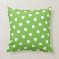 Green Polka Dot Throw Pillow   Zazzle