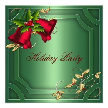Green Red Bells Corporate Holiday Party Card
