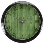 Green Rustic Beautiful Wood Texture Aqua Clock