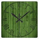 Green Rustic Beautiful Wood Texture Square Wall Clock