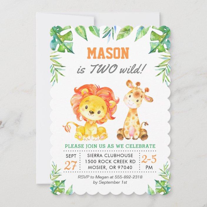 green safari jungle 1st boy first birthday party invitation zazzle com