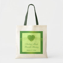 Green shamrock clovers heart wedding favor bag