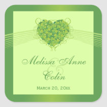 Green shamrock clovers heart wedding stickers