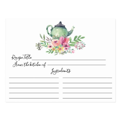 Green Tea Pot Floral Recipe Card
