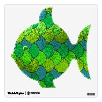 Green & Teal Scaley Fish Wall Decal | Zazzle.com