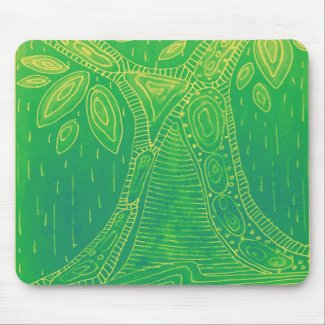 Green tree  pattern mousepad