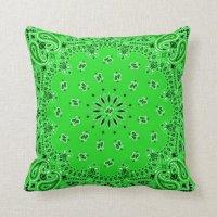 Green/Turquoise Back Western Bandana Scarf Fabric Throw ...