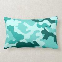 Green Turquoise Camo Lumbar Pillow