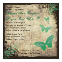 Green Vintage Butterfly Wedding Invitation
