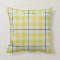 Green white tartan plaid checkered yellow villa throw pillow