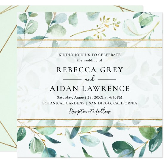 Greenery Eucalyptus with Geometric Frame Wedding Invitation