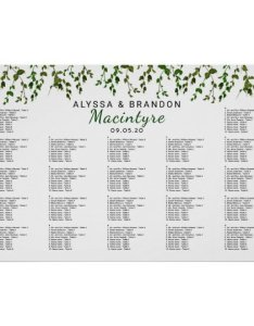 also greenery vines wedding reception seating chart zazzle rh