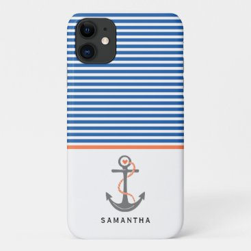 Grey anchor and blue, white stripes coral nautical iPhone 11 case