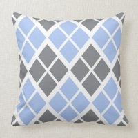 Grey and Blue Argyle Throw Pillow | Zazzle