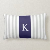 Grey Navy Blue Stripes Monogram Lumbar Pillow | Zazzle