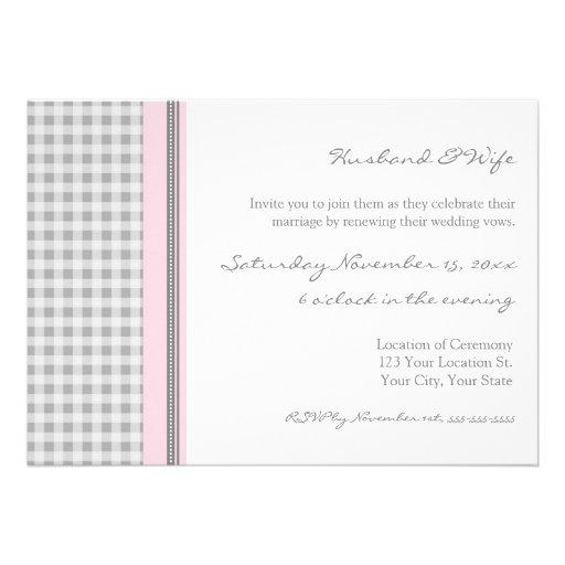 Grey Pink Wedding Vow Renewal Invitations 5