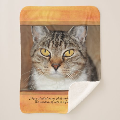 Grey Tabby Cat Sherpa Blanket