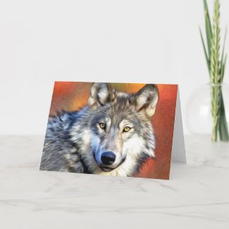 Grey Wolf Art Painting Card