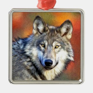 Grey Wolf Art Painting Metal Ornament