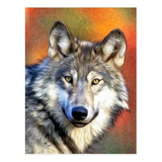Grey Wolf Art Painting Postcard