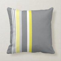 Grey (Yellow stripe) Throw Pillow | Zazzle.com
