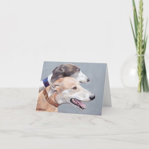 Greyhound Friends Dog Art Note Card