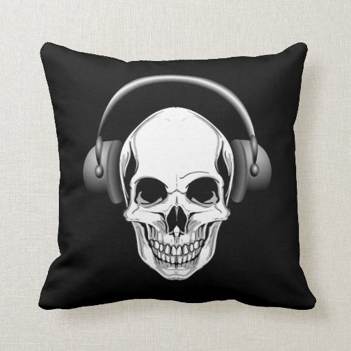 Grinning Skull With Headphones Throw Pillow  Zazzle