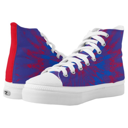 Groovy Blue and Red Spiral Tie Dye Printed Shoes
