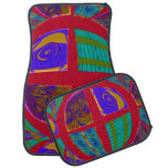 Groovy Colorful Red Abstract Car Mat