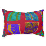 Groovy Colorful Red Abstract Small Dog Bed