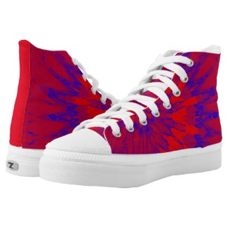Groovy Red and Blue Spiral Tie Dye Printed Shoes