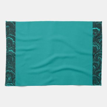Groovy Retro Abstract Swirl Teal Peacock Turquoise Kitchen Towel