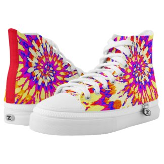 Groovy Yellow, Magenta and Red Spiral Tie Dye Printed Shoes