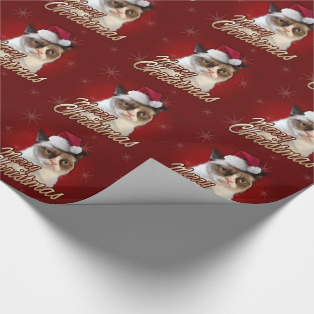 Grumpy Cat Merry Christmas Wrapping Paper Zazzle