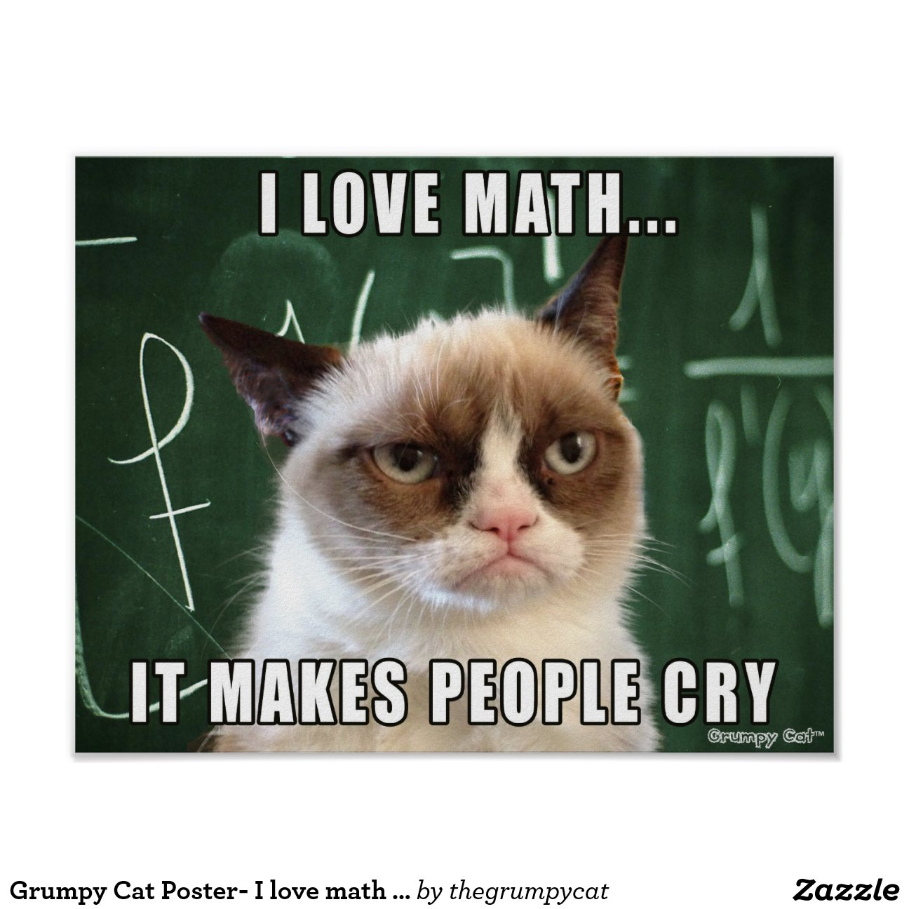 Grumpy Cat Poster- Love Math Makes People Cry Poster