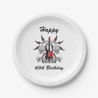 Grunge Guitar and Skull Paper Plate | Zazzle